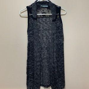 Lace Detail Black Sweater Vest Thigh Length S
